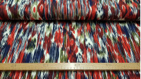 Cotton Jersey Stripes Strokes Red fabric - T-shirt cotton jersey fabric with stripe patterns in the style of brush strokes or brushes, in red, blue, black and white colors. This fabricis perfect for making blouses, skirts, dresses, shirts, shirts… The fa