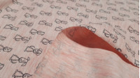 Cotton Jersey Puppies Pink Melange fabric - Cotton jersey fabric with drawings of puppies in gray strokes on a melange pink background. The fabric measures 150cm wide and its composition 65% cotton - 32% polyester - 3% spandex