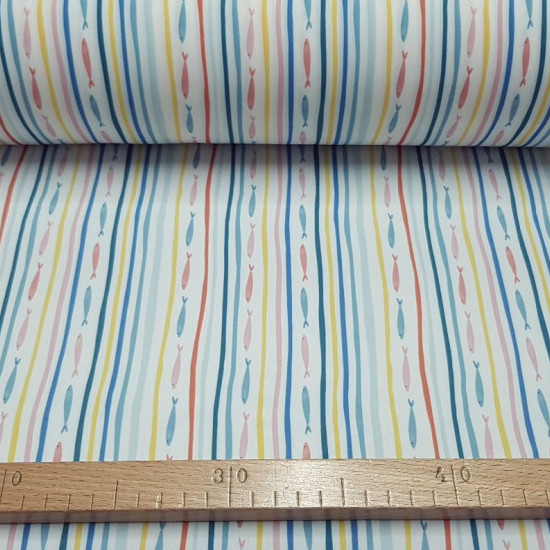 Knitted Lycra Swimsuit Fish Stripes Colors fabric - Stretch lycra knit fabric for swimwear and beachwear with multi-colored stripes and fish stripes forming rows on a white background. The fabric is 145cm wide and its composition is 85% polyamide - 15% el