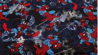 Tela Punto Algodón Spiderman - Tela de punto algodón licencia con dibujos del personaje Spiderman en varias poses colgado de su telaraña. La tela mide 150cm de ancho y su composición 92% algodón –8% elastano.