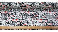 Cotton Jersey GOTS Snoopy Rebel White fabric - Organic cotton jersey fabric with drawings of the Snoopy character on a white background decoration with phrases in black letters, graffiti style, and some red tone. The fabric is 145cm wide and its compositi