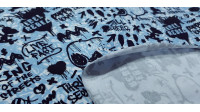 Cotton Jersey GOTS Snoopy Rebel Blue fabric - Organic cotton jerseyfabric with drawings of the character Snoopy on a background decorated with blue lines and phrases in black letters, graffiti style where Snoopy and Charlie Brown also appear on a skatebo