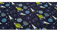 Cotton Jersey Space Rockets fabric - Cotton jersey fabricwith drawings of rockets, planets, stars, constellations,... on a dark blue background. The fabric is 150cm wide and its composition 95% cotton - 5% elastane