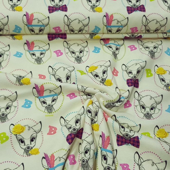 Cotton Jersey Bambi Glasses fabric - Licensed cotton jersey fabric with beautiful drawings of the Disney character Bambi with glasses, flowers, Indian feathers... on a light background. The fabric is 160cm wide and its composition is 95% cotton - 5% ela
