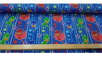 Cotton Jersey PJ Masks Stripes Stars fabric - Licensed cotton jersey fabric with drawings of the PJ Masks characters on a background with stripes and stars in various colors on a blue background. The fabric is 160cm wide and its composition is 95% cotton