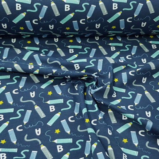 Cotton Jersey Pencils Letters fabric -