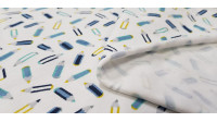 Cotton Jersey Pencils fabric - Cotton jersey fabricwith drawings of pencils in blue tones on a white background. The fabric is 150cm wide and its composition 95% cotton - 5% elastane