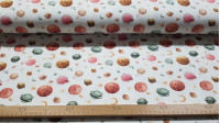 Digital Cotton Jersey Planets fabric - Cotton jersey digital printing with drawings of planets and stars in sweet colors on a white background. The fabric is 150cm wide and its composition 95% cotton - 5% elastane