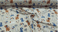 Cotton Jersey GOTS Dogs Beige fabric - Organic cotton jersey fabric (GOTS) with drawings of dogs on a beige / sand background. The fabric is 150cm wide and its composition is 95% cotton - 5% elastane.