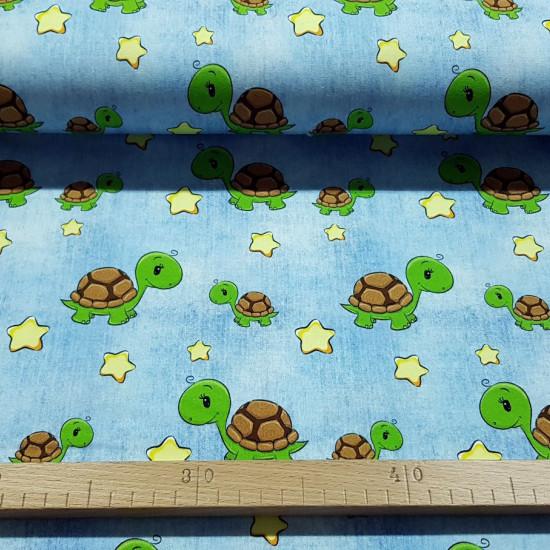 Cotton Jersey Turtles Stars Denim fabric -