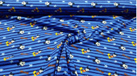 Cotton Jersey Disney Mickey Stripes fabric - Cotton jersey Disney licensed fabric with drawings of the Mickey character on a blue background with stripes and stars. The fabric is 150cm wide and its composition is 95% cotton - 5% elastane.