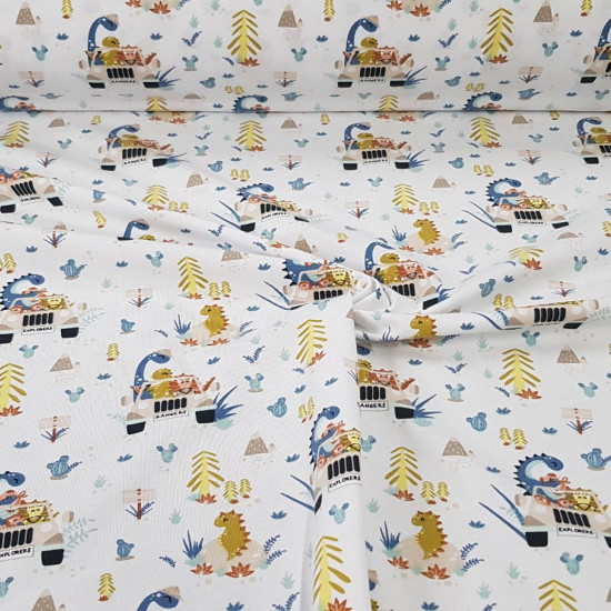 Cotton Jersey Organic Dinosaurs Safari fabric - Organic cotton jersey fabric (GOTS) with drawings of dinosaurs on safari, on a white background with cacti and trees. The fabric is 150cm wide and its composition is 95% cotton - 5% elastane.