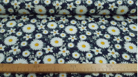 Cotton Jersey Flowers Daisies fabric - Digital printed cotton jersey fabric with drawings of daisy flowers on a navy blue background. The fabric is 150cm wide and its composition is 94% cotton - 6% elastane.