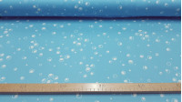OUTLET Light Blue Bubble Knit fabric - Silk Knit Fabric Printed with drawings of bubbles or white circles on a blue background.