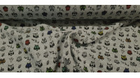 Sweatshirt Alpenfleece Owls fabric - Alpenfleece sweatshirt fabric with short, soft dark hair on one side, while on the other side there are owls and plants on a gray melange background. The fabric is 150cm wide and its composition 65% polyester - 35% c