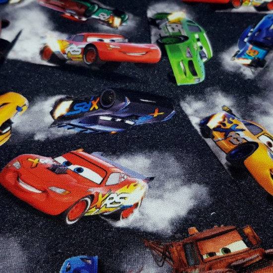 French Terry Disney Cars fabric - French Terry licensed Disney fabric with drawings of the cars from the movie Cars. The French Terry fabric can be used to make light sweatshirts, T-shirts, dresses, skirts... The fabric is 150cm wide and its composit
