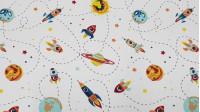 Tela Punto Algodón Naves Planetas - Tela de punto algodón de temática espacial con dibujos de naves espaciales y planetas sobre un fondo blanco con estrellas. Ideal para confecciones infantiles de todo tipo. La tela mide 150cm de ancho y su composición