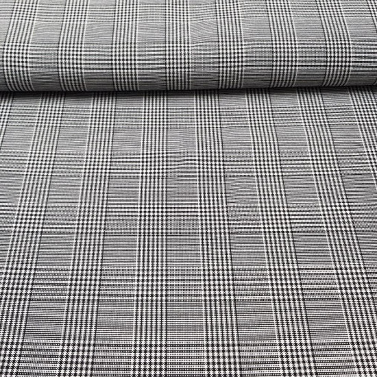 Twill Prince of Gales Check fabric - Twill fabric with drawing of small Prince of Gales checks painting in black and white.