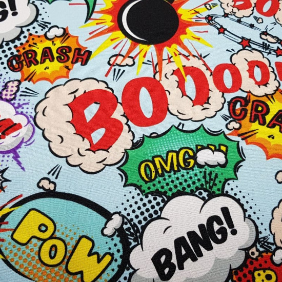 Burlington Comic Onomatopoeia fabric - Stretch / Burlington fabric with expression pattern and onomatopoeia typical of action comics. Boom, bang, crash, OMG ... is a very striking fabric with different expressions on a light blue background. With this fab