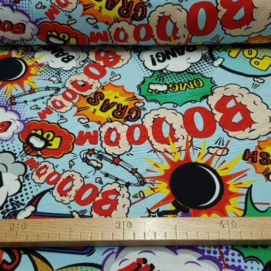 Tela Stretch Comic Onomatopeyas - Tela de Stretch/Burlington con estampado de expresiones y onomatopeyas típicas de los cómics de acción. Boom, bang, crash, OMG…es una tela muy llamativa con las distintas expresiones sobre un fondo azul claro. Con esta