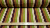 OUTLET Wide Stripes Burlington fabric - Bi-stretch or burlington fabric with wide stripes in green and brown tones approximately 2cm wide. The fabric is 150cm wide and its composition is 100% polyester