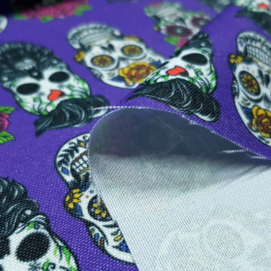 Burlington Hipster Skulls fabric - Multipurpose stretch / burlington polyester fabric with drawings of hipster skulls on a lilac purple background. The fabric is 150cm wide and its composition is 100% polyester.