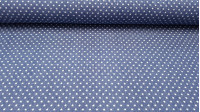 Denim Stars fabric - Fine cotton denim fabric with drawings of white stars on a blue denim background. This fabric is ideal for garments like pants, vests... and accessories like bags, wallets, cushions... The composition of this Texan fabri