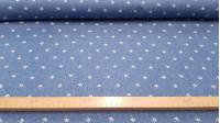 Tela Tejano Paraguas Denim - Original tela de tejano fino color denim con dibujos de paraguas blancos y puntitos dispersos también en color blanco. La tela tiene 150cm de ancho y la composición 100% algodón. Este tejido es el propio para confecc