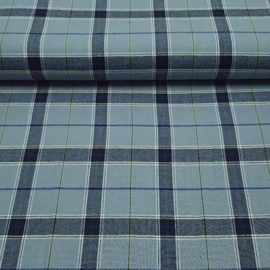 Tela Viella Cuadros - Tejido de Viella con estampado de cuadros y rayas en colores gris, azúl y amarillo La tela mide 80cm de ancho
