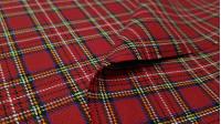 Tela Viella Cuadro Escocés - Tejido de Viella con dibujo decuadro escocés en tonorojoy rayas blancas, amarillas,negras y azules.