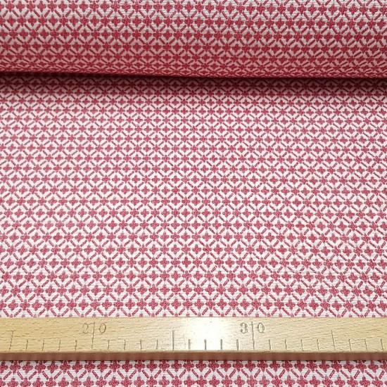 Tela Algodón Brocado Cruces - Tela de algodón brocada con dibujos de cruces en colores rojo y blanco. Tela ideal para ceremonias, confecciones infantiles y decoración. La tela mide 140cm de ancho y su composición 100% algodón.