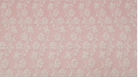 Cotton Brocade Flowers Pink fabric - Brocade cotton fabric with flower patterns where pink and white predominate. It is a very suitable fabric for ceremonies, children's clothing and decoration. The fabric is 140cm wide and its composition 100% cotton.