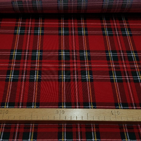 Burlington Scottish Tartan fabric - Stretch / Burlington fabric with drawings of typical Scottish tartan, where the color red predominates. The fabric is 150cm wide and its composition 100% polyester.