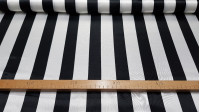 Satin Black Stripes fabric - Satin fabric, bright on one side and with a lot of fall. Wide stripe print in black with various color combinations to choose from. The fabric is 150cm wide and its composition 100% polyester.