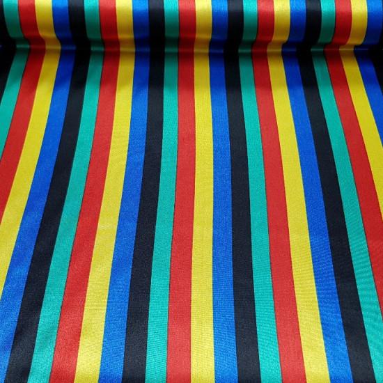 Tela Raso Rayas Multicolor - Tejido de raso con dibujos de rayas de 5 colores diferentes. La tela mide 150cm de ancho y su composición 100% poliester
