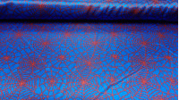 Satin Spider Web Red fabric - Satin fabric, bright on one side and with a lot of fall. Stamped with red cobwebs on a blue background. Ideal for Spiderman costume.