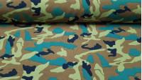 Tela Stretch Camuflaje - Tejido de stretch con estampado de camuflaje en tonos verdes.