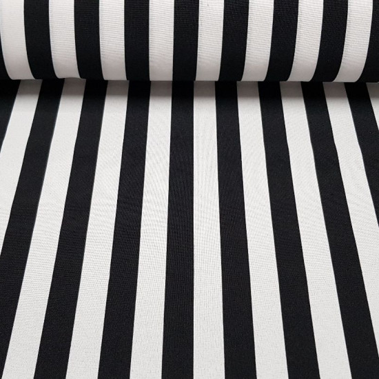 Stretch Stripes 2cm fabric - Stretch fabric with 2cm wide striped patterns. A fabric with enough fall that you can use in costumes, decorations, clothing… The fabric is 150cm wide and its composition is 100% polyester.