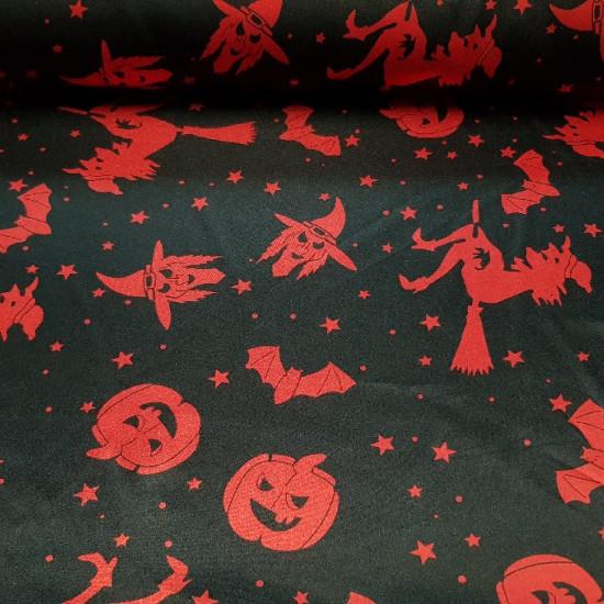 Tela Raso Halloween - Tejido de raso, brillante por una cara y con bastante caída. Estampado con dibujos de calabazas, brujas ymurcielagos rojos sobre fondo negro. Ideal para fiestas de Halloween. La tela mide 150cm de ancho y su composi