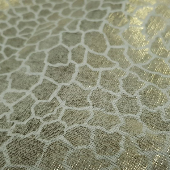OUTLET Golden Snake Skin fabric - White fabric with bright patterns imitating snake skin in golden color. The fabric is 150cm wide. Fabric Clearance Cheap Outlet.