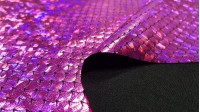 Foil Jersey Mermaid Scales fabric - Black jersey fabric with mermaid scales laminate in some colors with changingeffect. It is a fabric that has elasticity and is ideal for costumes, dance clothes … The fabric is 140cm wide and its composition is