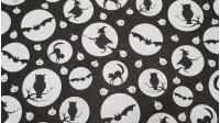 Halloween Witches Bats fabric - Bright satin fabric with drawings of silhouettes of witches, bats, owls and cats in white circles on a black background, interspersing white pumpkins on the same black background. The fabric measures 150cm and its co