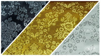 Jacquard Lurex Flowers fabric - Bright and striking fabric such as lurex, ideal for carnival costumes and vintage decorations. The fabric has embossed drawings of flowers on various backgrounds to choose from.