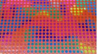 Tela Lamé Topos Multicolor - Tela de lamé brillante y un poco elástica con topos pequeños de 8mm multicolor sobre fondo rojo. Esta tela se puede usar en disfraces llamativos y también adornos y decorados. La tela mide 150cm de ancho y su composi