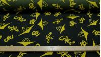 Tela Stretch Estilo Chino - Tela de stretch estampada con dibujos y letras chinas amarillas sobre un fondo negro. La tela mide 150cm de ancho y su composición 100% poliester.