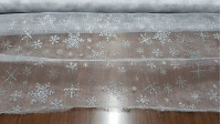 Organza White Ice Flakes fabric - Semi-transparent fabric with white glitter and fall with shiny silver ice flakes. Ideal for Christmas decorations, ice princess costume (Frozen) and much more. The fabric is 150cm wide and its composition 100% polyes