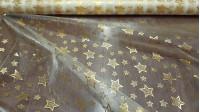 Tela Organza Estrellas Borde Dorado - Tela de organza dorada con estrellas grandes y pequeñas brillantes doradas. Por la parte trasera, las estrellas son de color plata. La tela mide 150cm de ancho y su composición 100% poliester.