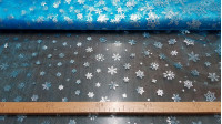 Organza Snowflakes Foil Turquoise fabric - Semi-transparent turquoise blue organza fabric with foil silver snowflakes in