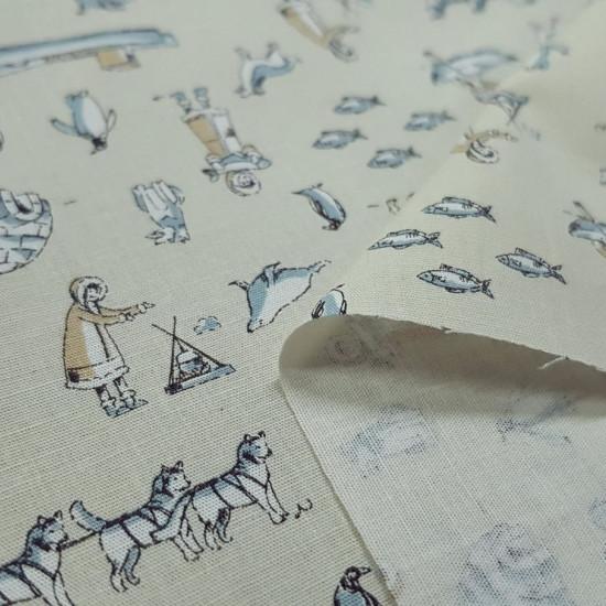 Tela Algodón Stretch Esquimales - Tela de algodón un poco elástica con dibujos de esquimales, iglúes, pingüinos, trineos, pescados... sobre varios fondos a elegir. La tela mide 150cm de ancho y su composición 97% algo