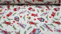 Tela Loneta Navidad Animales - Bonita tela de loneta estampada con dibujos de papá noel, buhos, pingüinos, osos polares, zorros y más animales con decoraciones navideñas sobre un fondo blanco. La tela de loneta es muy ancha y resistente. Mide 280c